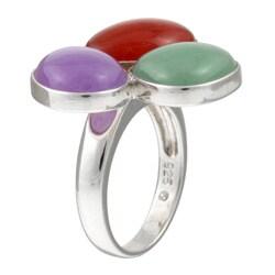 Kabella Sterling Silver Multi-colored Jade Ring - Thumbnail 1