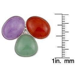 Kabella Sterling Silver Multi-colored Jade Ring - Thumbnail 2