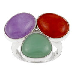 Kabella Sterling Silver Multi-colored Jade Ring