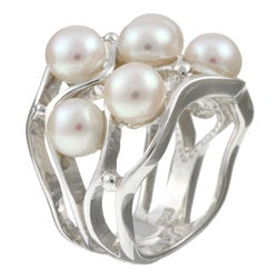 Kabella Sterling Silver Freshwater Pearl Cluster Ring