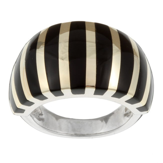 Kabella Sterling Silver and 14k Yellow Gold Black Agate Striped Ring