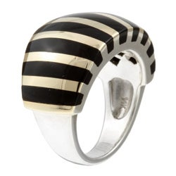 Kabella Sterling Silver and 14k Yellow Gold Black Agate Striped Ring - Thumbnail 1