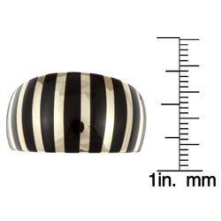 Kabella Sterling Silver and 14k Yellow Gold Black Agate Striped Ring - Thumbnail 2