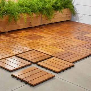 Nice Vifah Premium Plantation Teak 4 Slat Deck Tiles (Box Of 10)