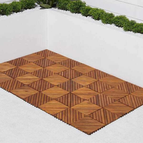 Shop 12 Diagonal Slat Acacia Interlocking Deck Tile Teak