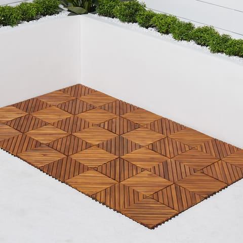 12 Diagonal Slat Acacia Interlocking Deck Tile (Teak Finish - Set of 10 Tiles)