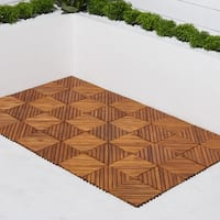 12 Diagonal Slat Acacia Interlocking Deck Tile (Teak Finish - Set of 10 Tiles)
