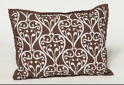 Bacati Damask Print Chocolate Brown Accent Pillow