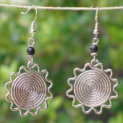 Silver Electroplated African Sun Earrings (Kenya) - Thumbnail 1