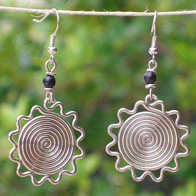 Silver Electroplated African Sun Earrings (Kenya) - Thumbnail 0