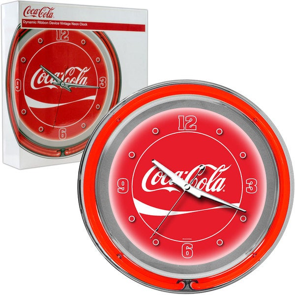 Red Coca Cola Double Ring Neon Clock
