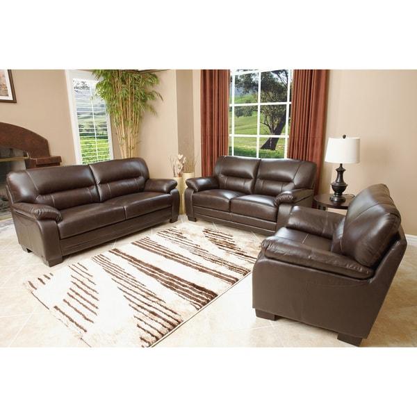 Abbyson Living Wilshire Premium Top-grain Leather Sofa, Loveseat, and Chair Set