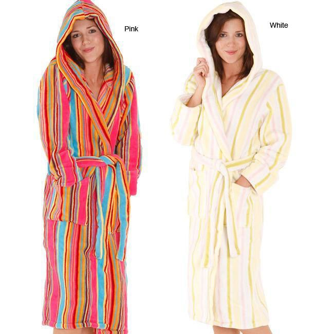 Alexander Del Rossa Women's Fleece Candy Striped Bath Robe