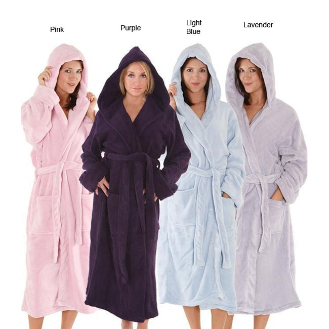 Women's 14-ounce Fleece Hooded Robe - Thumbnail 0