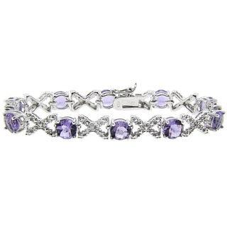 Dolce Giavonna Sterling Silver Amethyst and 1/2ct TDW Diamond Bracelet (J-K, I3)