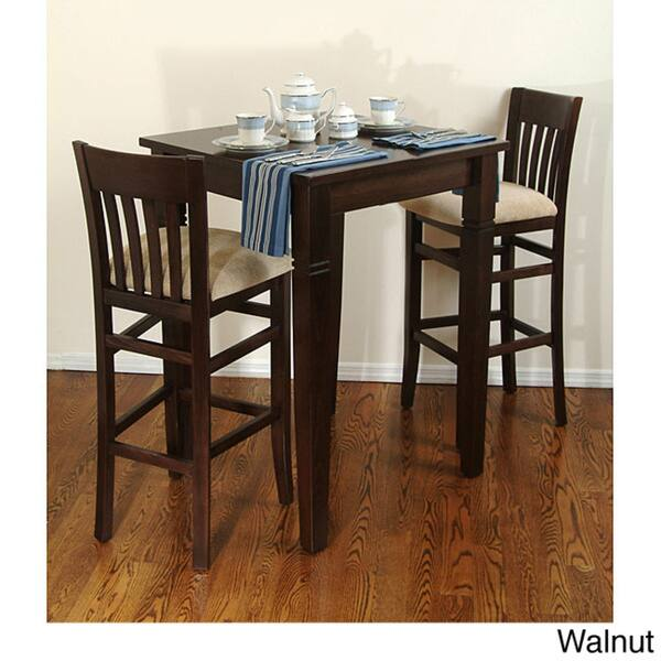 Jacob 3 Piece Bar Set Overstock 4353247 Walnut