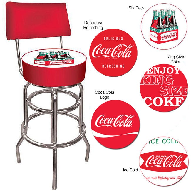 Coca Cola Collectible Padded Back Rest Barstool Free