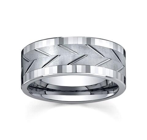 Men's Tungsten Polished/ Brushed Spinner Band (9 mm)