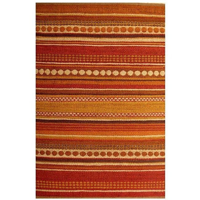 Hand-woven Sindhi Rust Jute Rugs - 4' x 6'