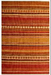 Hand-woven Sindhi Rust Jute Rug (5' x 8') - Thumbnail 1
