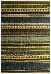 Hand-woven Sindhi Blue Jute Rug (5' x 8') - Thumbnail 1