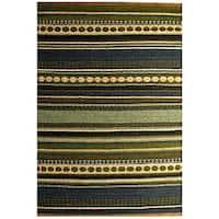Hand-woven Sindhi Blue Jute Rug (5' x 8') - Multi - 5' x 8'