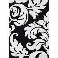 Alliyah Handmade Quill Feather Black/ White New Zealand Blend Wool Rug (5' x 8')