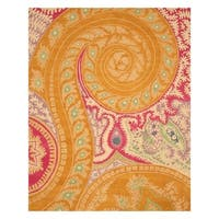 Hand-tufted Wool Orange Transitional Floral Paisley Rug - 8' x 10'