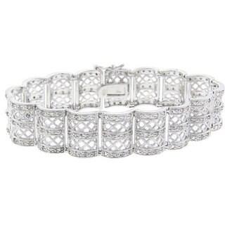 Finesque Sterling Silver 1ct TDW Diamond Lattice Design Bracelet (J-K, I3)