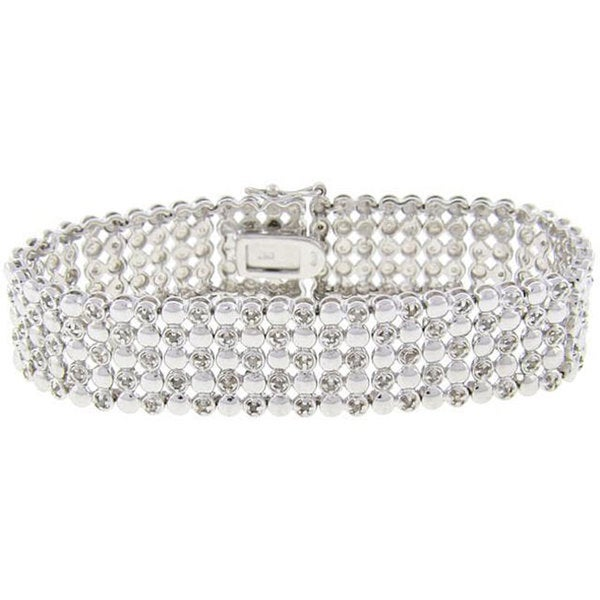 Finesque Sterling Silver 1ct TDW Diamond Five-row Bracelet (J-K, I3)