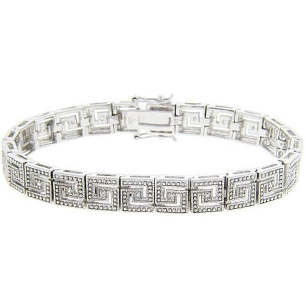 Finesque Sterling Silver 1/2ct TDW Diamond Greek Key Bracelet (J-K, I3)