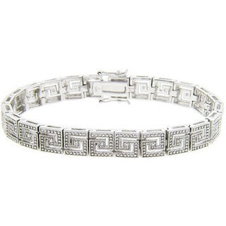 Finesque Sterling Silver 1/2ct TDW Diamond Greek Key Bracelet (J-K, I3)