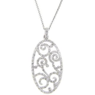 Finesque Sterling Silver 1/2ct TDW Diamond Filigree Necklace (J-K, I3)