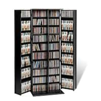Broadway Black Wood Large Deluxe CD/DVD Media Storage Unit
