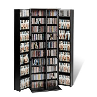 broadway black large deluxe cd dvd media storage
