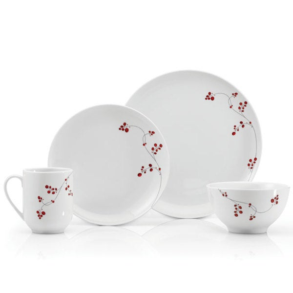 Mikasa Basic 16-piece Red Berries Dinnerware Set  sc 1 st  Overstock.com & Mikasa Basic 16-piece Red Berries Dinnerware Set - Free Shipping ...