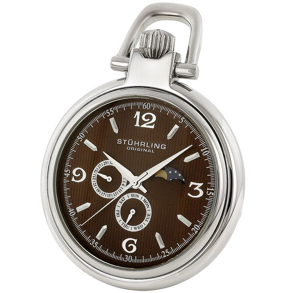 Stuhrling Original Men's Monarch Moon Pocket Watch
