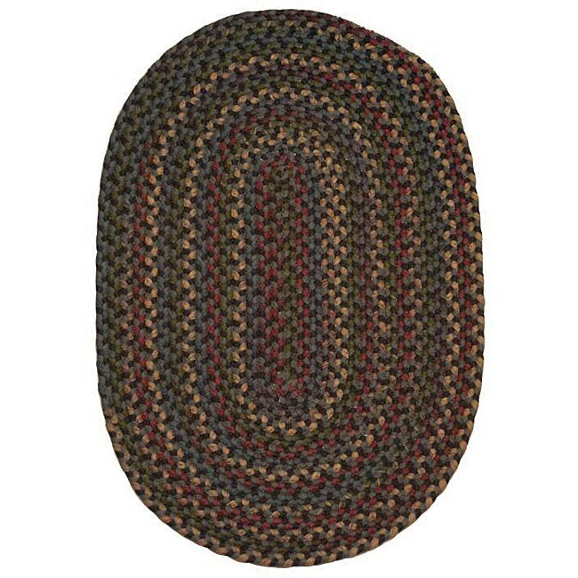 Jefferson Navy Indoor/ Outdoor Braided Rug (7'4 x 9'4) - Thumbnail 0