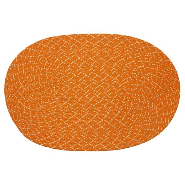 Indoor/ Outdoor Colorful Orange Braided Rug (8' x 11')