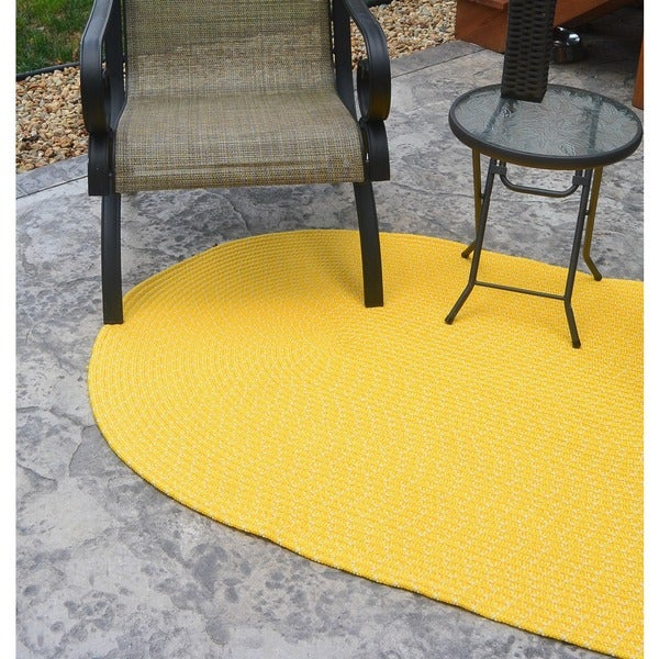 Sun Splash Indoor/ Outdoor Yellow Braided Rug (3'6 x 5'6)