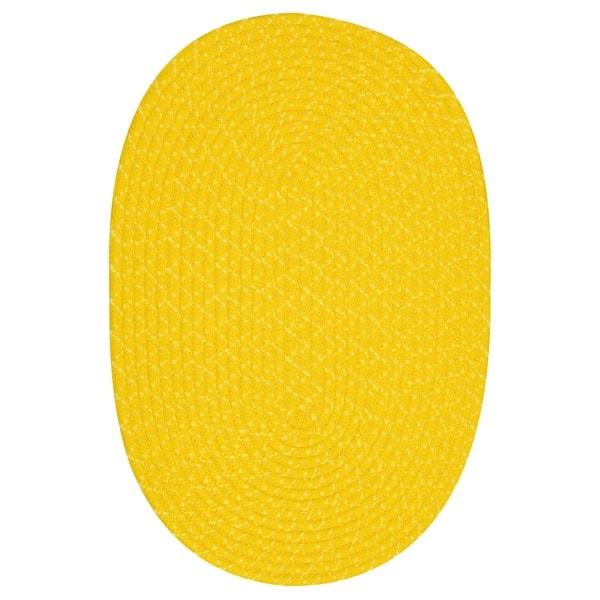 Sun Splash Indoor / Outdoor Colorful Yellow Braided Rug (5' x 8')