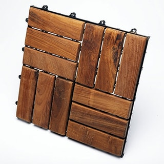 Le click Teak Interlocking Deck Tiles, Set of 10 Floortiles to cover 10sf, oiled finish