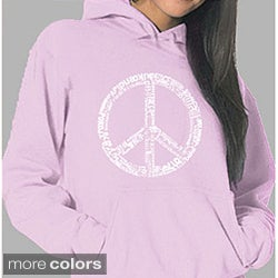 Los Angeles Pop Art Women's Pink 'Peace 77 Languages' Hoodie