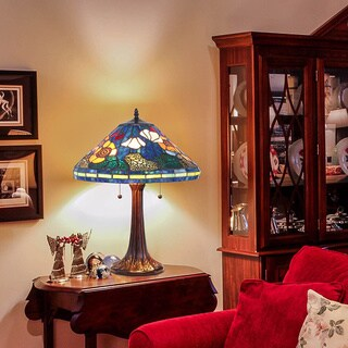 Tiffany-style Golden Poppy Table Lamps (Set of 2)