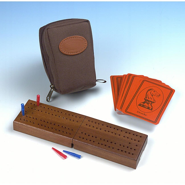 Travel Folding Cribbage Game Set with Board, Pegs, Cards, and Bag