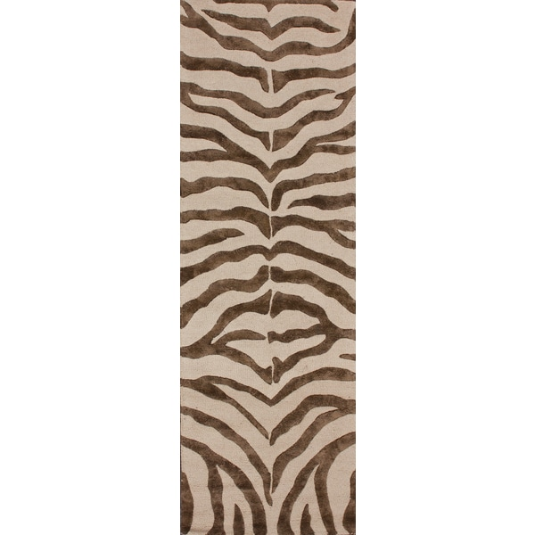 nuLOOM Handmade Zebra Brown Wool/ Faux Silk Highlights Rug