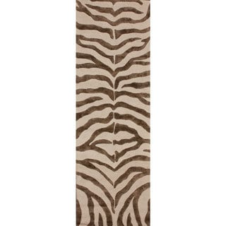 nuLOOM Handmade Zebra Brown Wool/ Faux Silk Highlights Rug (2'3 x 8')