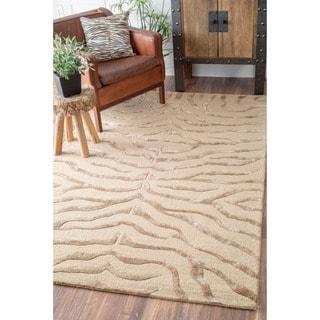 nuLOOM Handmade Zebra Brown Wool/ Faux Silk Highlights Rug (8'6 x 11'6)