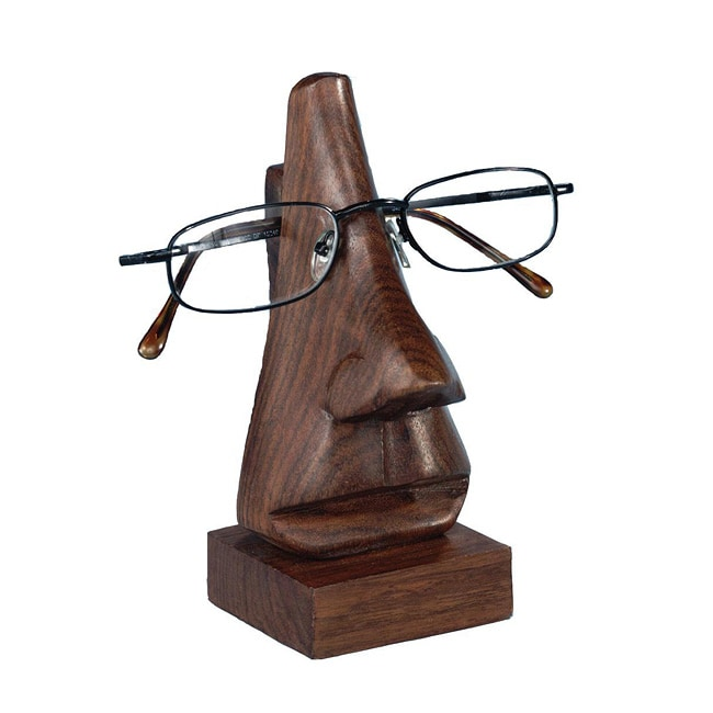 ASHA Handicrafts Hand-carved 6-inch Wooden Face Eyeglass Holder (India)