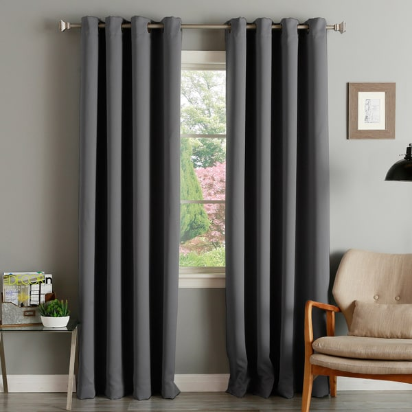 Aurora Home Thermal Insulated Blackout Grommet Top 84 Inch Curtain Panel Pair